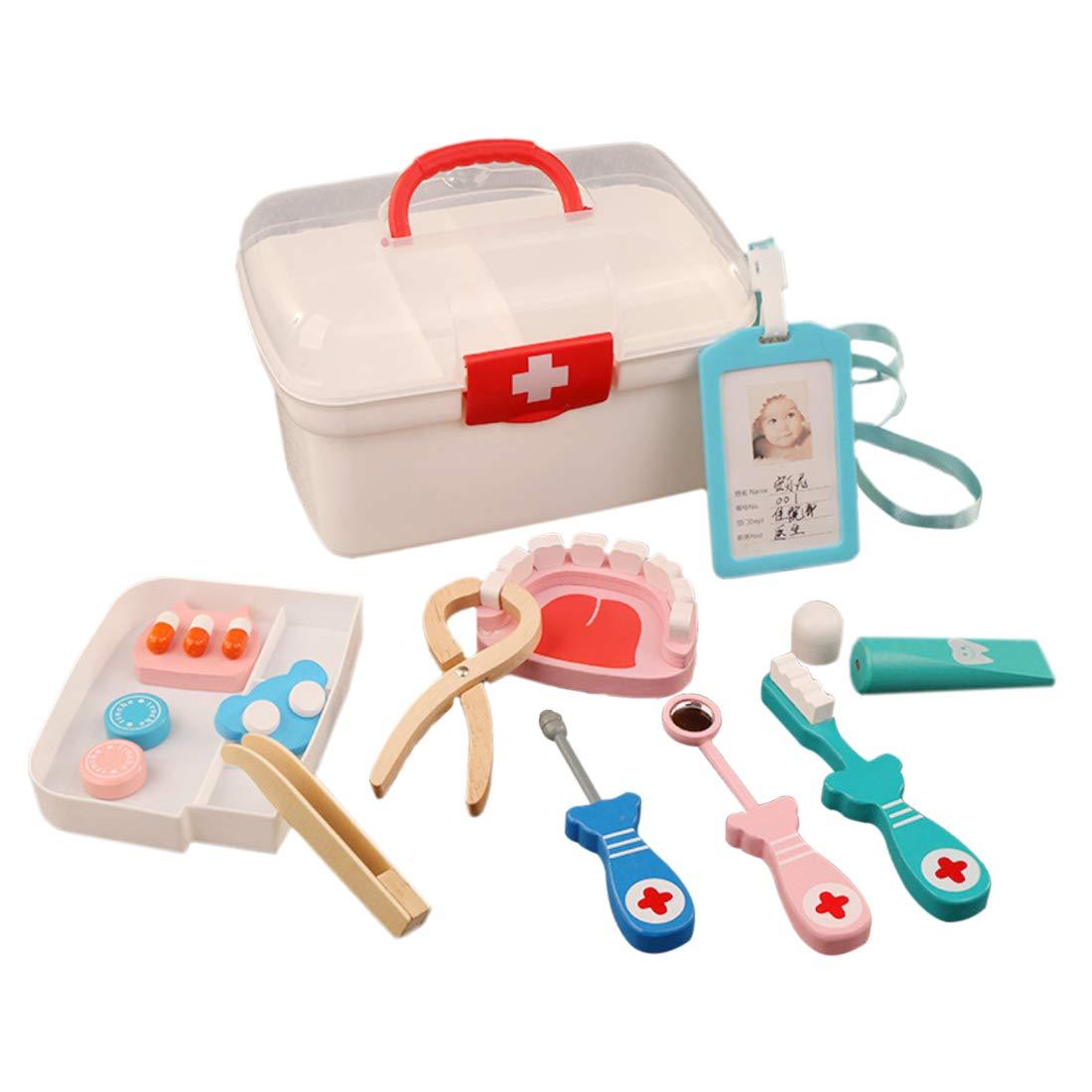 Riva776Yale 13 Stück Zahnarzt Arzt Medizinisches Spielzeug,Kinder Holz Medizinische Kit Simulation Medizin Set Doktor Spielset für Mädchen und Jungen - Rot