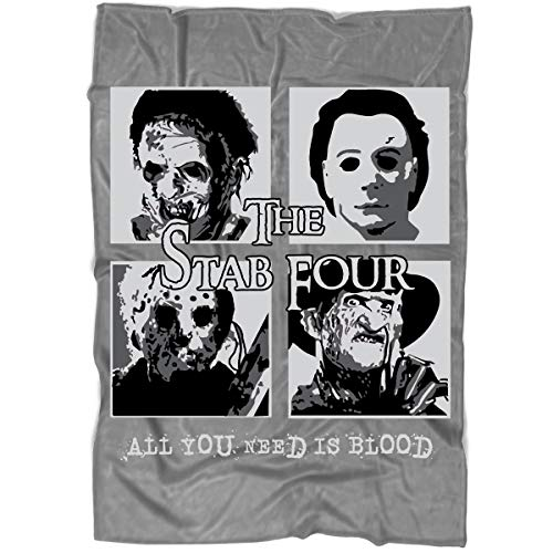 MOTABAG The Stab Four Halloween Blanket for Bed and Couch, Jason Voorhees Blankets - Perfect for Layering Any Bed (Large Blanket (80