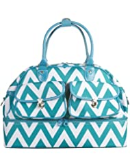 Ever Moda Chevron Womens Drop Bottom Duffel Bag 17 inch (Teal Blue)