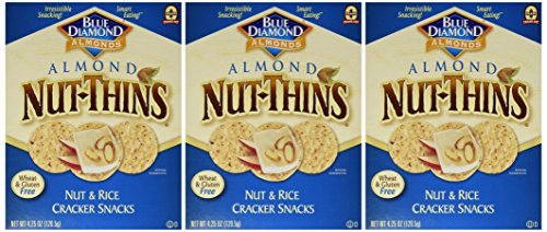 Blue Diamond NutThins Cracker Snacks, Almond, Boxes, 4.25 oz, 3 pk