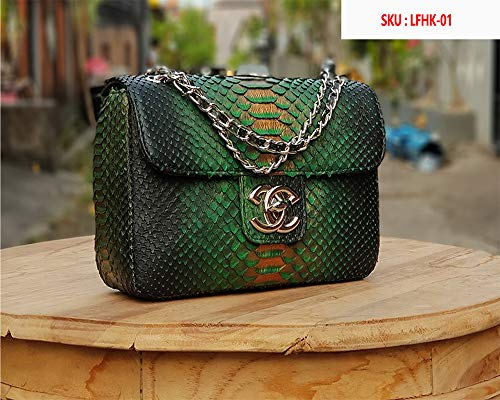 Genuine Glossy Snakeskin Python Purse Shoulder Evening Handbag