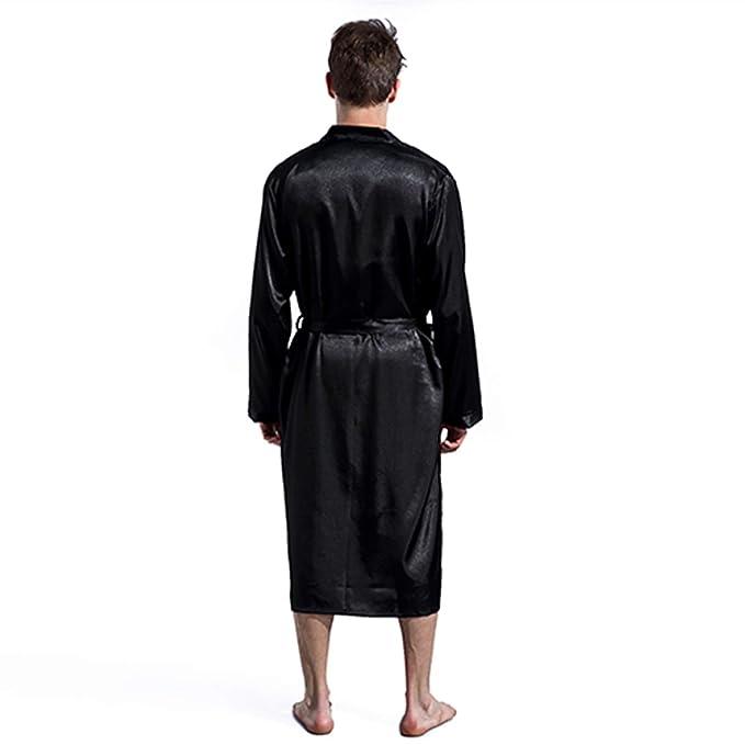 Bata de Hombre Bata de Seda de satén con cinturón Vestido de baño Fino Albornoz de Hombre Color sólido Talla de Talla S M L XL XXL: Amazon.es: Ropa y ...