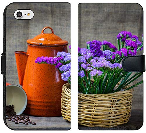 Luxlady iPhone 8 Flip Fabric Wallet Case Image ID: 24077437 Red teapot Place on Wooden Table with Purple Flower in Wooden Basket