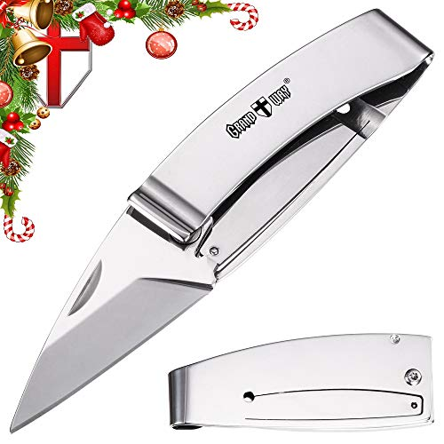 Knife Money Clip - Pocket Folding Knife - EDC Fold Knives Classic Stainless Steel Blade with Metal Clip on Handle - Best Mini Knife - Grand Way 6662 PC