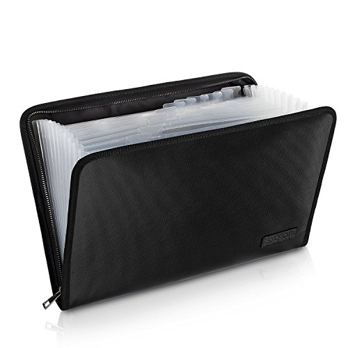 (Fireproof File Folder Fireproof Fire and Water Resistant Money Document Bag with A4 Size 13 Pockets Zipper Closure Non-itchy Silicone Coated Portable Filing Organizer Pouch(14.3