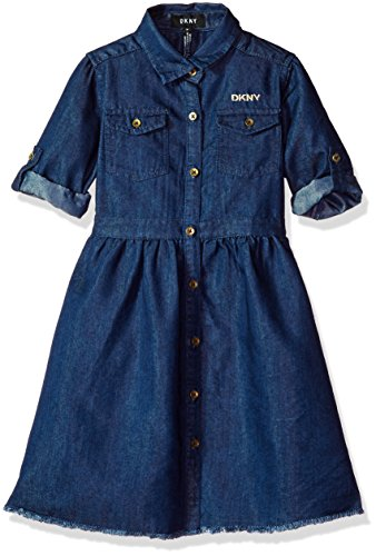 DKNY Little Girls' Casual Dress, shirtdress Frayed Hem Dark Wash, (Dkny Kids Clothing)