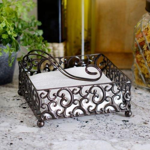 Elegant Attractive Square Napkin Holder, Pressed Metal Scroll Designed