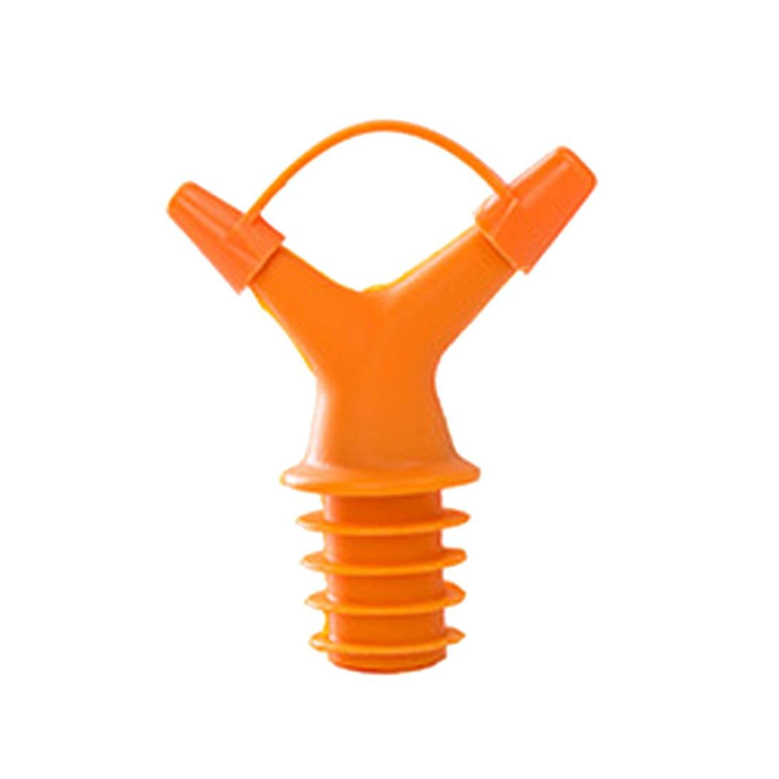 Clearance Sale!DEESEE(TM)Double Head Leakproof Soy Sauce Bottle Mouth Stuffed Vinegar Bottle Stopper (Orange)