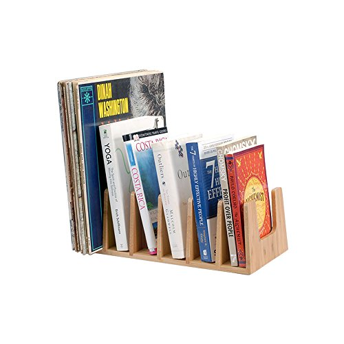 (MobileVision Bamboo Book Rack, Video, CD, Record Organizer, 6 Sections)