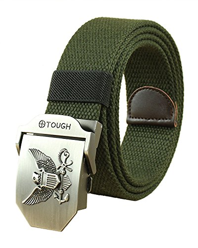 Canvas Web Belt Military Style Smooth Buckle Outdoor Casual Belt 50 Inch (Military Green Eagle)