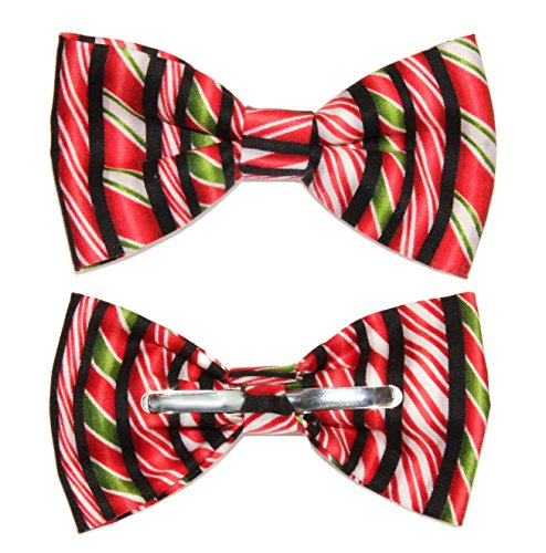 (Boys Black Red Green Candy Cane Clip On Cotton Bow Tie)