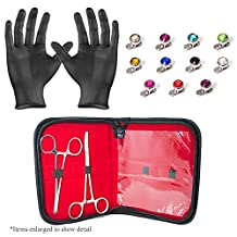 Professional Dermal Anchor Piercing Kit 2 Stainless Steel Forceps with 22 Dermal Anchors 316L Jewelry and Gloves