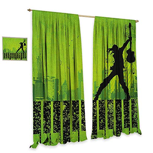 Popstar Party Window Curtain Fabric Music in The City Theme Singer with Electric Guitar on Grunge Backdrop Waterproof Window Curtain W72 x L108 Lime Green Black ()
