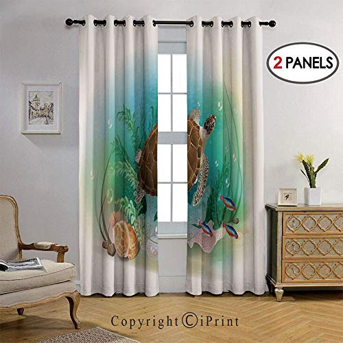 RWNFA Fashion Design Swims in The Ocean Tropical Underwater World Aquarium Illustration Print Thermal Insulated Blackout Curtain with Grommet Tops for Bedroom, 36 by108 inch, 2 Panel,Green Brown