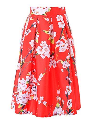 Pli Imprime Jupe Rouge Jupe A Rtro ZongSen Line Jupe Femme Patineuse Midi Style Floral tROWnqnU8S