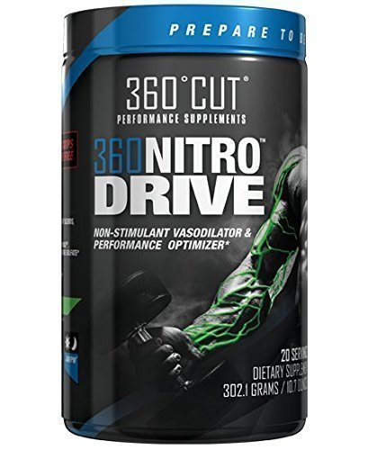 360NitroDrive Caffeine Free Stimulant Free Nitric Oxide Pump Enhancer with HydroMax, Nitrosigine, Agmatine Sulfate, and Citrulline Malate, Great Tasting Blue Raspberry Flavor
