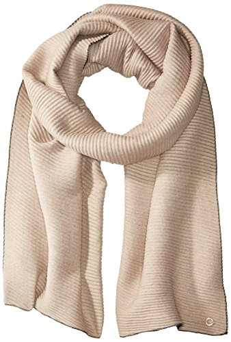 Calvin Klein Women's Double Face Pleated Blanket Scarf, heathered almond, One Size