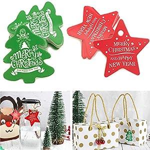 Nuluxi Tag Regalo di Natale Carta Kraft Rosso Etichette Regalo di Natale Appendere Vuoto Regalo di Natale Etichette Ciondolo Bello Leggero e Resistente Adatto per Natale Decorazioni (200 Pezzi) 1 spesavip