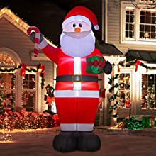 YIHONG 8 Ft Christmas Inflatables Santa Claus with Gift Box and Candy Cane Decorations - Blow up Party Decor for Indoor Outdoor Yard with LED Lights