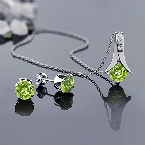3.00 Ct Round Green Peridot Gemstone Birthstone 925 Sterling Silver Pendant and Earrings Set 18 Inch Chain