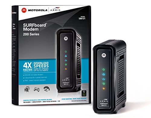 ARRIS  Motorola SurfBoard SB6121 DOCSIS 3.0 Cable Modem - Retail Packaging - Black
