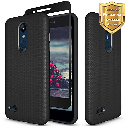 LG K30 Case, LG Phoenix Plus Case, LG Premier Pro LTE Case, LG K10 2018 Case with [Full Coverage Tempered Glass Screen Protector] Nuomaofly Anti-slip Hard Textured Protective Case (Black)