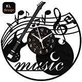 KingLive Vinyl Wall Clock, Music Vinyl Record Clock Music Instrument Wall Art Black12 Inch for Livingroom Beedroom