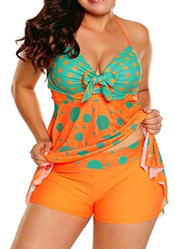 (Sidefeel Women Cute Polka Dot Print 2pcs Tankini Swimsuit XX-Large Orange)
