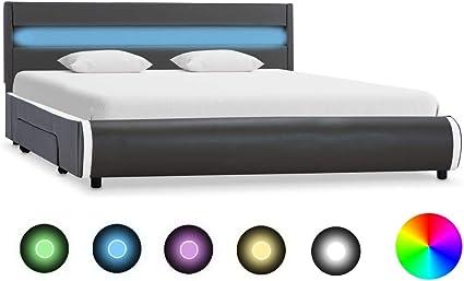 vidaXL Giroletto con LED Elegante Robusto Contemporaneo con Telecomando Telaio Imbottito Struttura Letto Grigio in Similpelle 100x200 cm