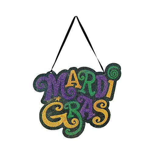 - Fun Express - Mardi Gras Glitter Door Hanger for Mardi Gras - Party Decor - Door Decor - Misc Door Decor - Mardi Gras - 1 Piece