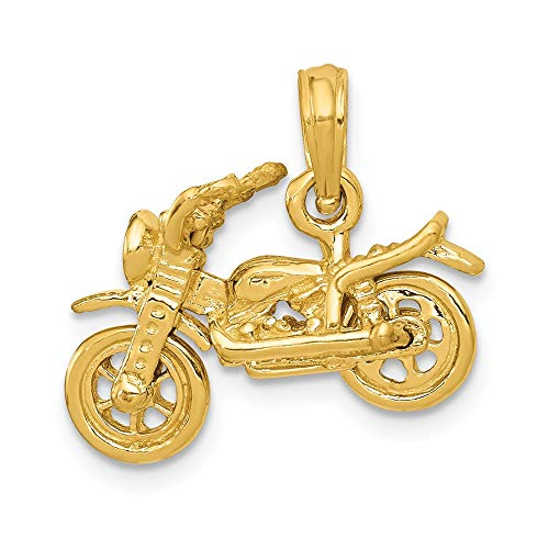 14k Gold Motorcycle Charm - 14k Yellow Gold 3 D Moveable Motorcycle Pendant Charm Necklace Travel Transportation Man Fine Jewelry Gift For Dad Mens For Him
