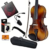 Paititi 3/4 Size Solid Wood Student Violin Complete Package w Case Bow Rosin String Tuner Stand Complete Package