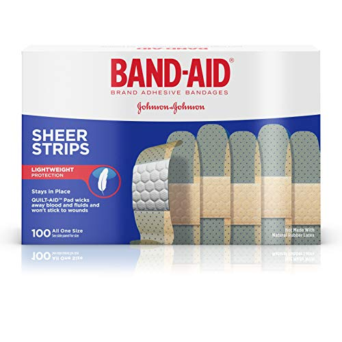 Band-Aid Brand Sheer Strips Adhesive Bandages for First Aid and Wound Care of Minor Cuts and Scrapes, All One Size, 100 ct