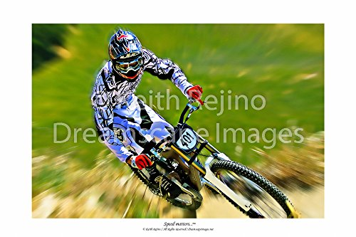 Downhill Mountain Bike Rider Motivational Sports Poster Inspirational Art Photography, with Zoom Blur and