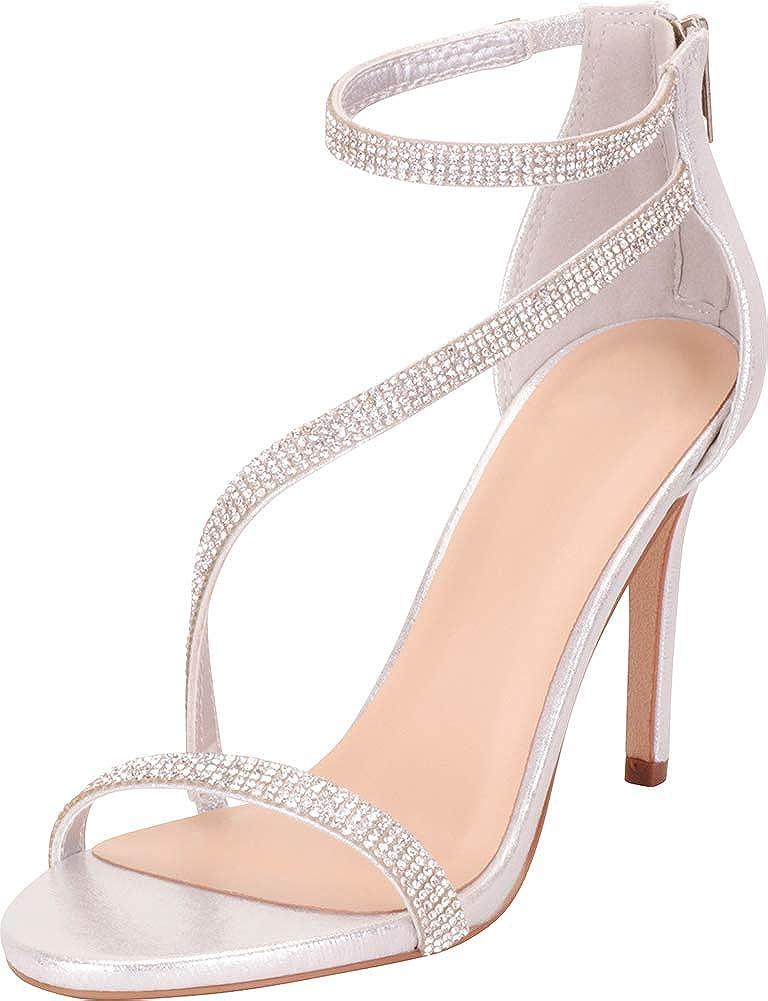 Silver Shimmer Cambridge Select Women's Open Toe Strappy Crystal Rhinestone Stiletto Heel Dress Sandal