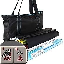 American Mahjong Set Waterproof Black Nylon wtih Blue Stitches Bag 4 Color Pushers/Racks Western Mahjongg