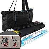 American Mahjong Set Waterproof Black Nylon wtih Blue Stitches Bag 4 Color Pushers/Racks Western Mahjongg
