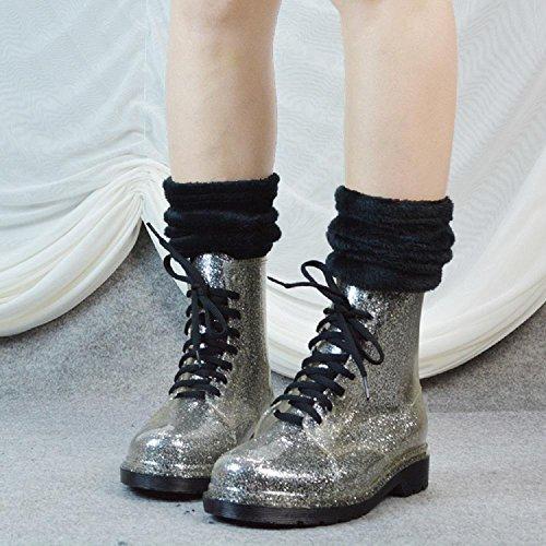 Martin stivali Ms Inverno transparent glitter stivali pioggia Silver da 6qYtwq