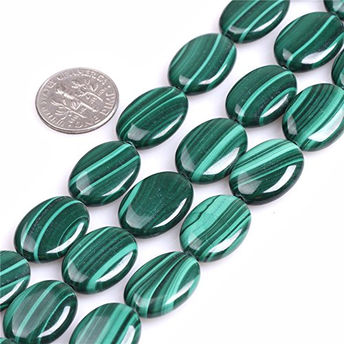 13x18mm Oval Gemstone Grade A Malachite Beads Strand 15 Inch Jewelry Making Beads ()