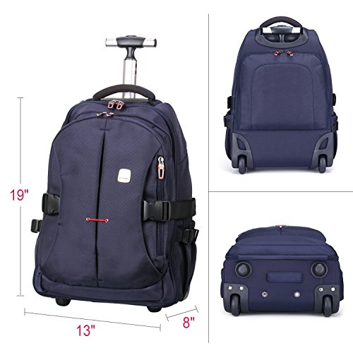 "19"" TSA Checkpoint Friendly Wheeled Backpack, Rolling Carry-on Luggage Travel Duffel Bag for Men,Blue by Porlik (Image #5)"