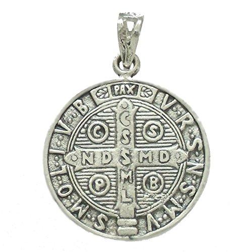 Pendentif San Benito 925m de loi argent 23mm. amulette. [AB2771]