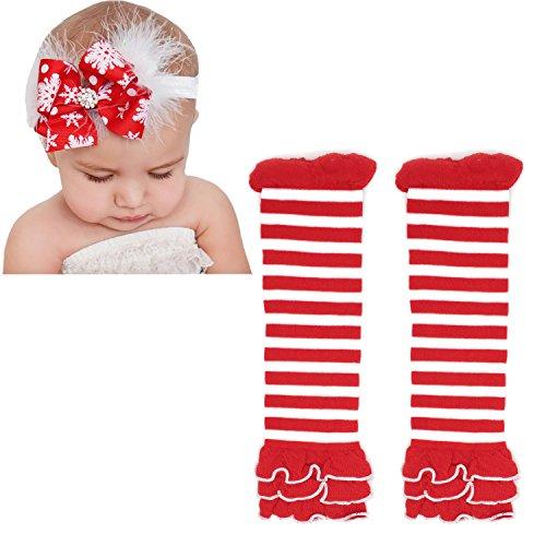 Elesa Miracle Cozy Soft Baby Toddler Leg Warmers and Headband Set (Christmas A) ()