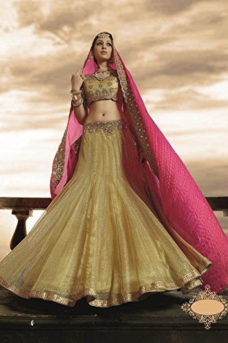 Indian Women Designer Wedding Beige Lehenga Choli Fabz-2405