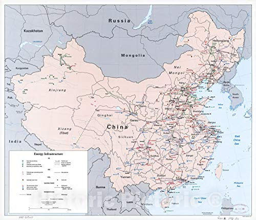 Historic 1992 Map | China Energy Infrastructure. 44in x -