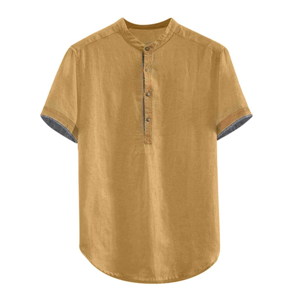 YSFWL Herrenhemd Stehkragen Einfarbig Oben Baumwolle Freizeithemd Knopf Kurzarm Besondere Hemden Herren Sommerhemden Leinenhemd Hemd Sommerhemd Regular Fit Gr/ö/ße M-3XL