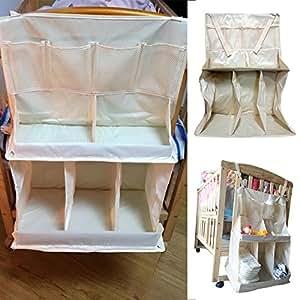 Hrph Cama impermeable Pañales Organizador bebé que cuelga bolsa de almacenamiento portátil Accesorios de cama