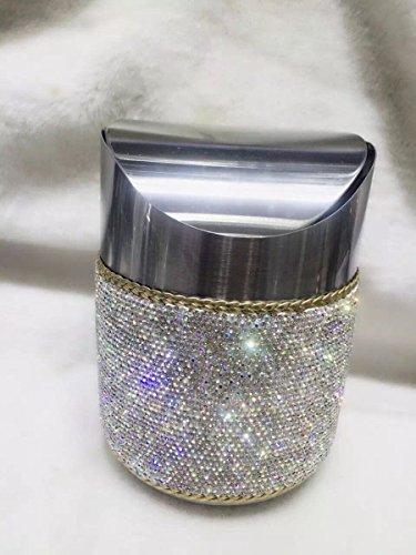 TISHAA Mini Makeup Table Trash Can Wastebasket Bathroom for Vanity Countertops (Small Crystal Bin)