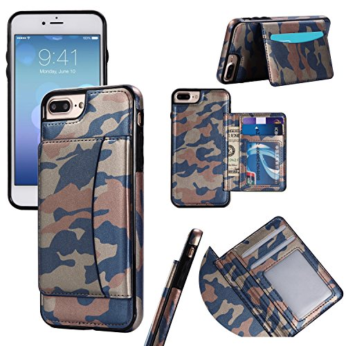 HJX Ultra Thin Mobile Phone Back Case Phone Cover para iPhone 7 8 7plus 8 Plus Estuches de Camuflaje Impreso TPU Suave (Color...