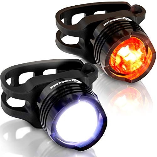 Stupidbright SBFR-1 Strap-On Micro LED Front & Rear Bike Light Set (2 Pack: White & RED)