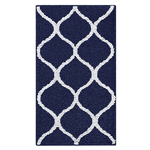 Kitchen Rugs, Maples Rugs [Made in USA][Rebecca] 2'6 x 3'10 Non Slip Padded Small Area Rugs for Living Room, Bedroom, and Entryway - Navy Blue/White